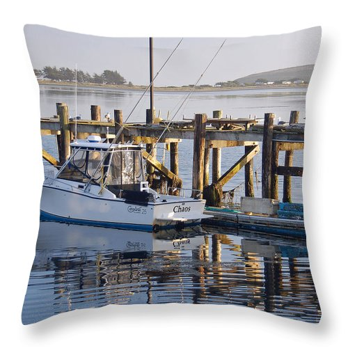 Boat Throw Pillow featuring the photograph Chaos near Bodega Bay by Suzanne Gaff