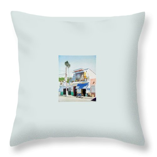 Trees Throw Pillow featuring the mixed media Chapala Store by Constance Drescher