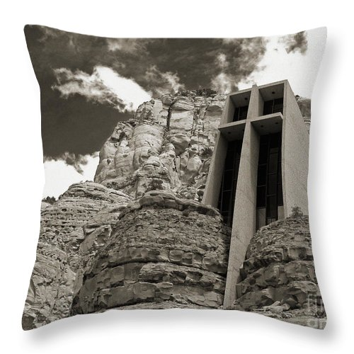 Church Throw Pillow featuring the photograph Chapel Of The Holy Cross Bw by Kelly Holm