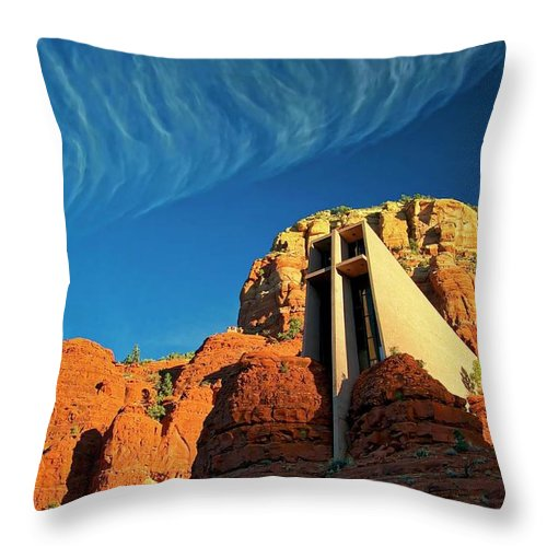 Chapel Of The Holy Cross Throw Pillow featuring the photograph Chapel of the Holy Cross, Sedona, Arizona by Zayne Diamond Photographic