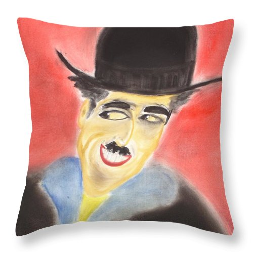 Cinema Film Throw Pillow featuring the painting Chaplin by Roger Cummiskey