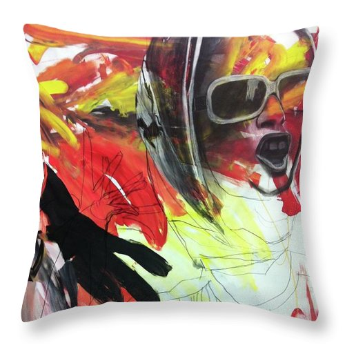 Girl Throw Pillow featuring the painting Charcoal Drawing by Tanya Johnston