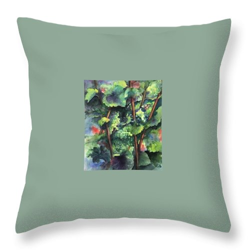 Vineyard Throw Pillow featuring the painting Chardonnay Dans L'ombre by Maria Hunt