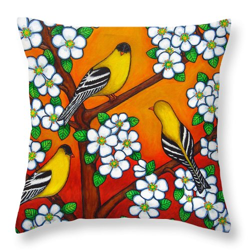 Goldfinch Throw Pillow featuring the painting Chardonnay Sunset by Lisa Lorenz