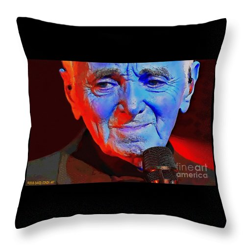 Charles Aznavour Throw Pillow featuring the digital art Charles Aznavour by David Conin