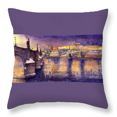 Cityscape Throw Pillow featuring the painting Charles Bridge And Prague Castle With The Vltava River by Yuriy Shevchuk