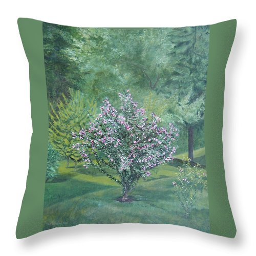 Blooming Throw Pillow featuring the painting Charles Street by Leah Tomaino