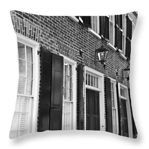 Charleston Brick Homes Downtown Charleston South Carolina Historic Black White Dustin Ryan Throw Pillow featuring the photograph Charleston Brick Homes by Dustin K Ryan