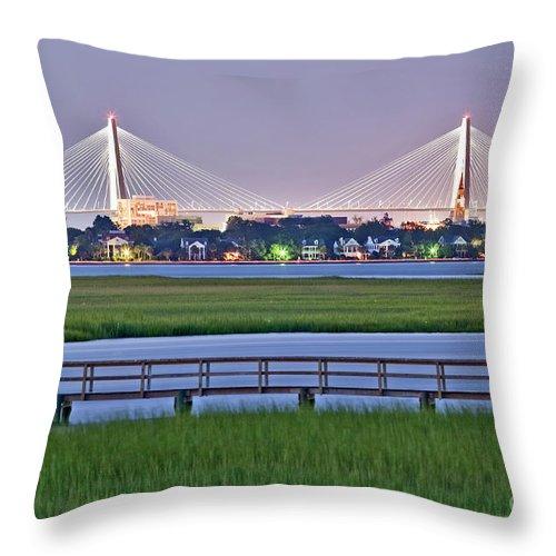 Charleston Throw Pillow featuring the photograph Charleston South Carolina Skyline by Dustin K Ryan
