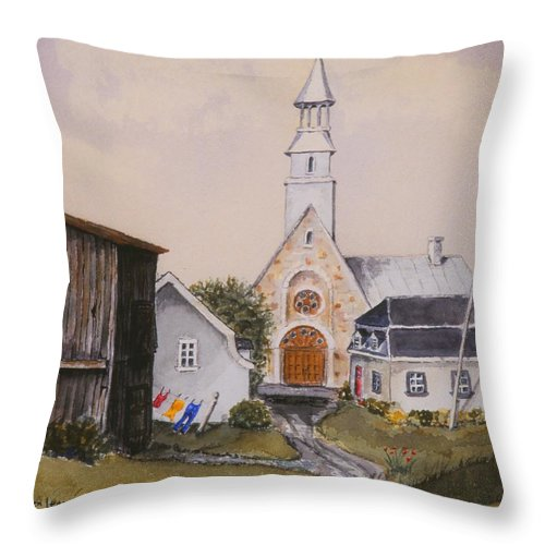 Landscape Throw Pillow featuring the painting Charlevoix Quebec by Mary Ellen Mueller Legault