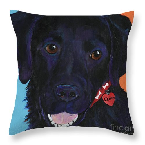 Dog Art Throw Pillow featuring the painting Charlie by Pat Saunders-White