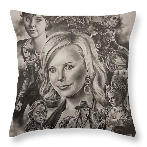Charlize Theron Throw Pillow featuring the drawing Charlize Theron by James Rodgers