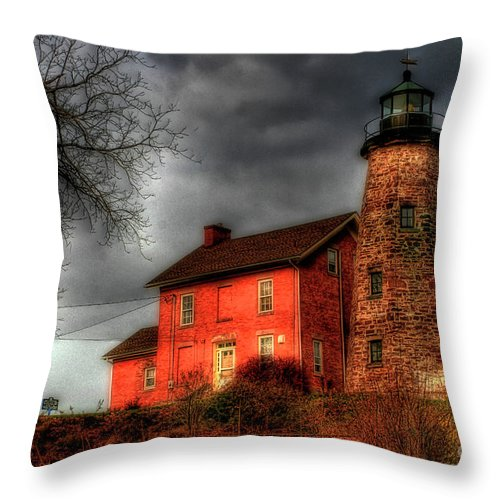 Lighthouse Throw Pillow featuring the photograph Charlotte-genesee Lighthouse by Joel Witmeyer