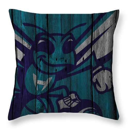 Hornets Throw Pillow featuring the photograph Charlotte Hornets Wood Fence by Joe Hamilton