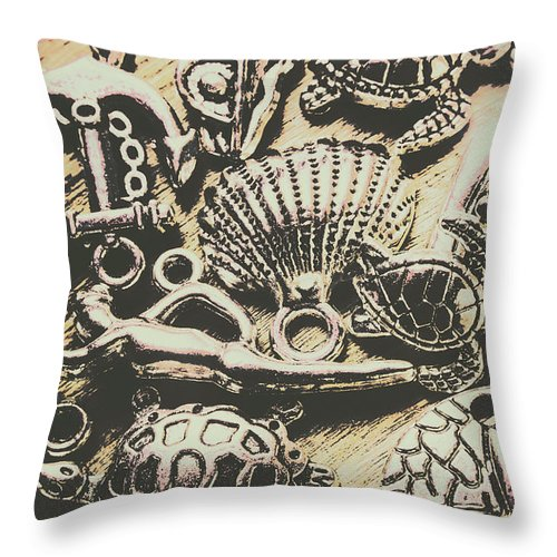 Aquatic Throw Pillow featuring the photograph Charming Seashore Symbols by Jorgo Photography - Wall Art Gallery