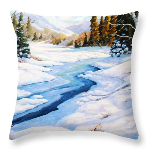 Winter Throw Pillow featuring the painting Charming Winter by Richard T Pranke