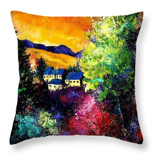 Landscape Throw Pillow featuring the painting Charnoy by Pol Ledent