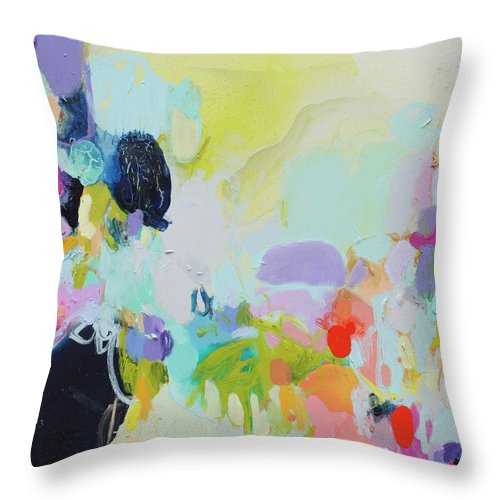 Abstract Throw Pillow featuring the painting Chartreuse Stop by Claire Desjardins