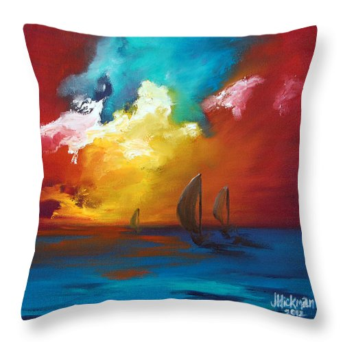 Oil Throw Pillow featuring the painting Chase by Jennifer Hickman