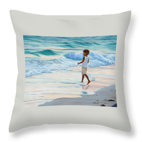 Child Throw Pillow featuring the painting Chasing The Waves by Lea Novak