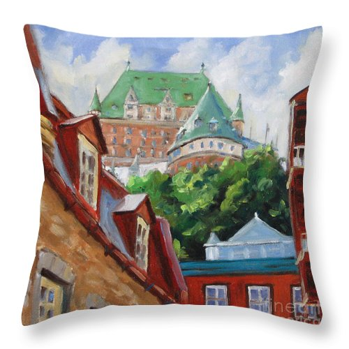 Chateau Frontenac Throw Pillow featuring the painting Chateau Frontenac by Richard T Pranke
