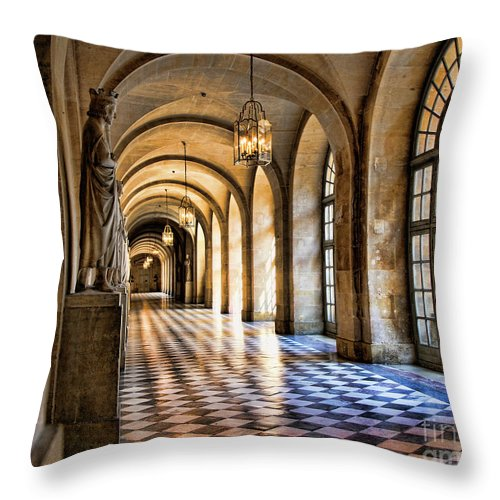France Throw Pillow featuring the photograph Chateau Versailles Interior Hallway Architecture by Chuck Kuhn
