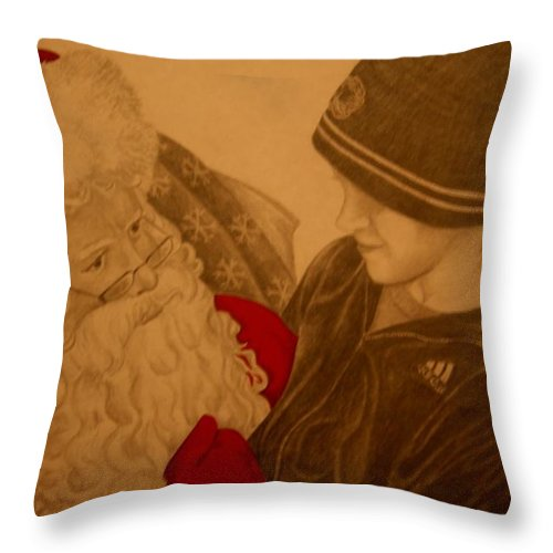 Sants Throw Pillow featuring the drawing Chatting With Santa by Melissa Wiater Chaney