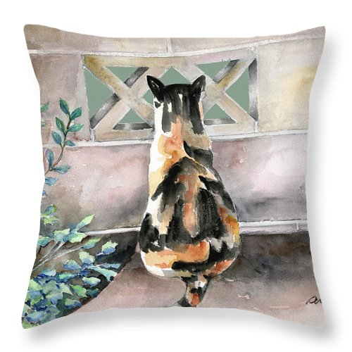 Cat Throw Pillow featuring the painting Checking Out The Neighbors Backyard by Arline Wagner