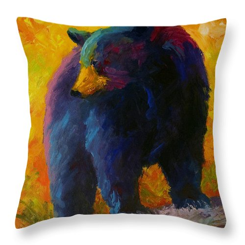 Western Throw Pillow featuring the painting Checking The Smorg - Black Bear by Marion Rose