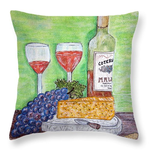 Cheese Throw Pillow featuring the painting Cheese Wine And Grapes by Kathy Marrs Chandler