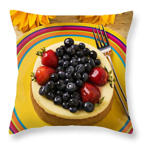 Fruit Throw Pillow featuring the photograph Cheesecake With Fruit by Garry Gay