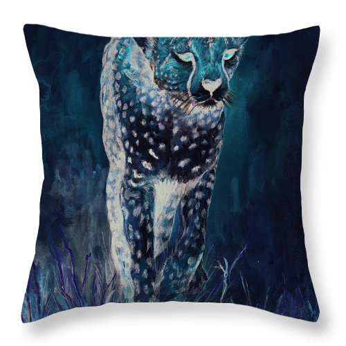 Cheetah Throw Pillow featuring the painting Cheetah Running by Morgan Fitzsimons