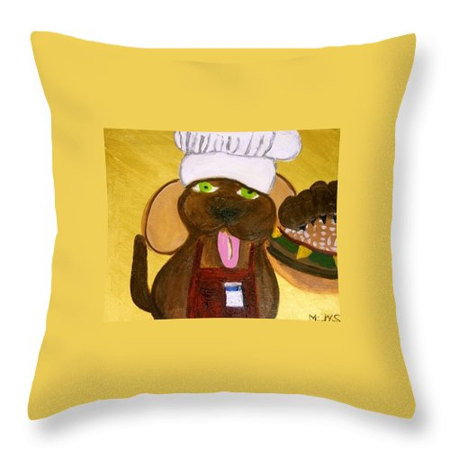 Dog Throw Pillow featuring the painting Chef Bow Wow by Empowered Creative Fine Art