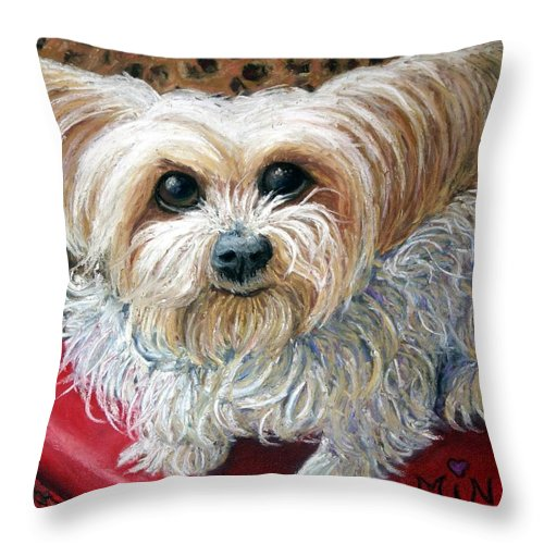 Dog Throw Pillow featuring the painting My Friend by Minaz Jantz