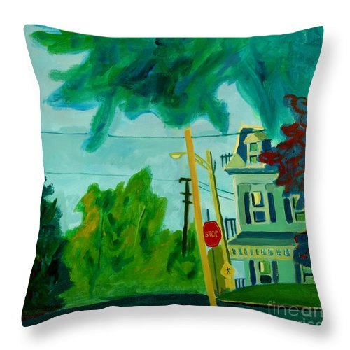 Chelmsford Throw Pillow featuring the painting Chelmsford Center by Debra Bretton Robinson