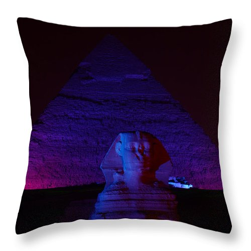 Pyramid Throw Pillow featuring the photograph Cheops In Blue by Donna Corless