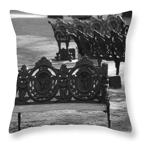 Black And White Throw Pillow featuring the photograph Cherb Benches by Rob Hans