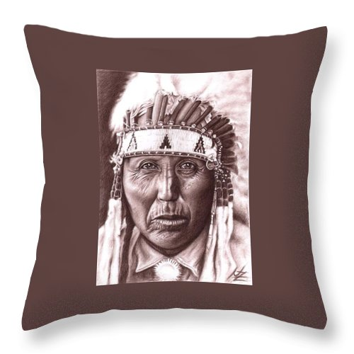 Indian Throw Pillow featuring the drawing Cherokee by Nicole Zeug