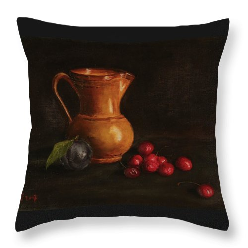 Still Life Throw Pillow featuring the painting Cherries And Plum by Eva Santi