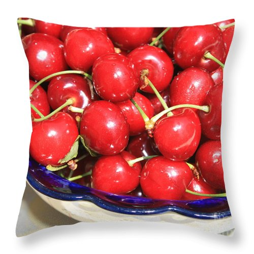 Food Throw Pillow featuring the photograph Cherries In A Bowl Close-up by Carol Groenen
