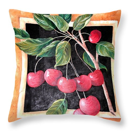 Cherries Throw Pillow featuring the painting Cherries by Melissa Wiater Chaney