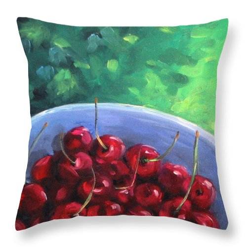 Art Throw Pillow featuring the painting Cherries On A Blue Plate by Richard T Pranke