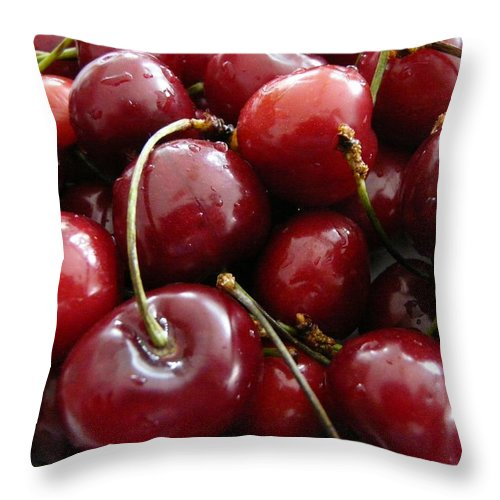 Cherries Throw Pillow featuring the photograph Cherries by Valerie Ornstein
