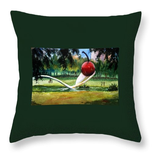Cherry & Spoon Throw Pillow featuring the painting Cherry And Spoon by Marilyn Jacobson