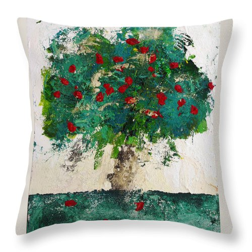 Tree Throw Pillow featuring the painting Cherry Blossom by Empowered Creative Fine Art