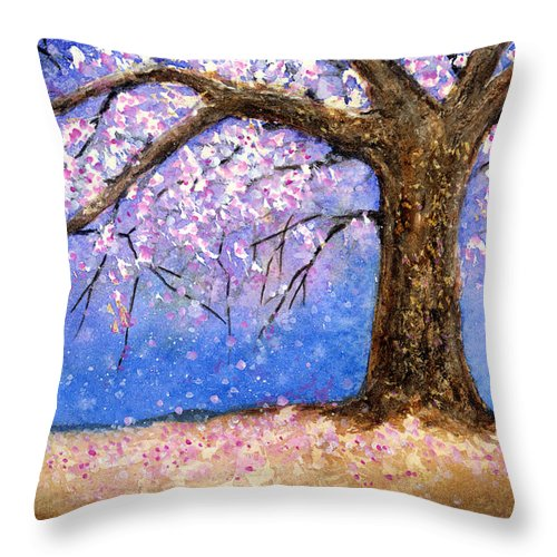 Cherry Blossom Throw Pillow featuring the painting Cherry Blossom by Hailey E Herrera