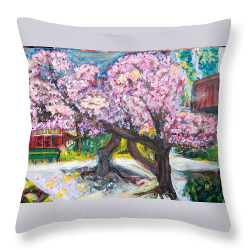 Cherry Tree Throw Pillow featuring the painting Cherry Blossom Time by Carolyn Donnell