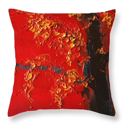 Landscape Throw Pillow featuring the painting Cherry Blossom Tree - Red Yellow by Patricia Awapara