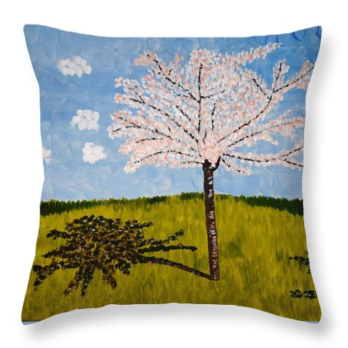 Cherry Throw Pillow featuring the painting Cherry Blossom Tree by Valerie Ornstein