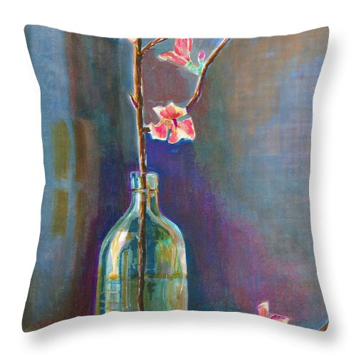 Flower Throw Pillow featuring the painting Cherry Blossoms In A Bottle by Arline Wagner